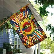 Imagine All The People Living Life In Peace Hippie Su - Garden Flag / House Flag
