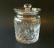 Waterford Colleen Crystal Biscuit Barrel Jar Lid 6 3/4 Candy Thumbprint Diamond