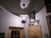 Vintage Kerosine Hanging Oil Barn Lamp  Tin Shade Converted To Electric