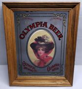 Vintage Rare 80s Olymipia Beer Mirror Sign 14×11
