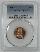 1944 S Lincoln Wheat Cent Penny 1c Pcgs Ms 67 Red Mint State Unc 806