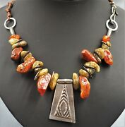 Sterling Silver Sibenan And Carnelian Chips Hand Strung Womans Necklace Vintage
