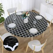 Smiry Round Fitted Vinyl Tablecloth - Elastic Edged Flannel Backed Vinyl Tablecl