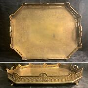 Atq Brass Pierced Tray Hand Etched Footed Serving Tray Large 19.5 Hand Crafted