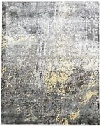 Silk Dark Grey Rug 8and039 X 10and039 Modern Hand Knotted Indian Abstract Large Carpet