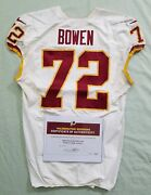 72 Stephan Bow Of Redskins Nfl Game Used And Unwashed Jersey Vs. Vikings Wcoa