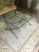 Classical Style Glass Top Iron And Brass Coffee Table