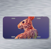 Rabbit Animal Vector Art Polygon On License Plate Car Front Auto Tag