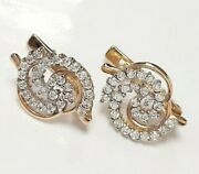 Earrings Pure Bright Stones Gold 14k 585 Russian Jewelry Retro Style 01214