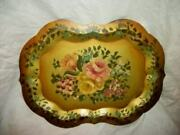 Vintage Hp Roses Floral Edge Tole Tray Gold Vanity Chippendale French Farmhouse