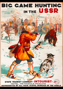 Big Game Hunting Ussr Russia Soviet Vintage Repro Travel Ad Art Print Poster