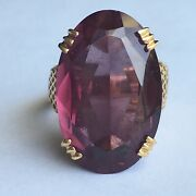 14k American Antique 15 Carat Synthetic Alexandrite Ladyand039s Ring Circa 1940s