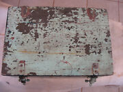 Antique Vintage Wood Large Storage Box Chest Trunk Tool Cabinet Green Paint