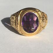 Antique 14k Yellow Gold Amethyst And Co 1933 Ladiesand039 Sorority Ring