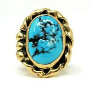 Ring Turquoise Tumbled Oval Solitaire Cocktail 14k Yellow Gold Size 10.5