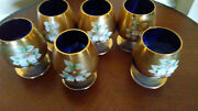 Bohemia Cobalt Set Of 6 Snifter Glasses Blue And Gold Encrusted Enameled Flowers