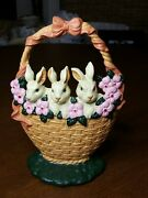 Cast Iron Door Stop Easter Basket Rabbits Flowers Hand Painted Spring Decor