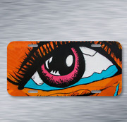 Eye Colors Woman Eyelashes Graffiti On License Plate Car Front Auto Tag