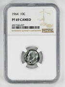 1964 Proof Roosevelt Dime 10c Ngc Certified Pf 69 Uncirculated - Cameo 027