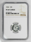 1964 Proof Roosevelt Dime 10c Ngc Certified Pf 69 Uncirculated - Cameo 029