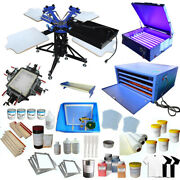 Usa Stock Big 3 Color 4 Station Floor Type Full Screen Printing Kit Brand Newest