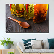 Bottles Of Spicy Oils Kitchen Dining And Cafe Decor Canvas Art Print