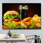 Burger And Chicken Nuggets Kitchen Dining And Cafe Decor Canvas Art Print