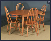 Priory Blonde Ercol Style Quaker Oak Drop Leaf Dining Table And Four Hoop Chairs