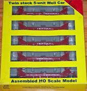 A-line 47613-02 Twin Stack Container 5 Unit Well Car Set Gbrx 2329