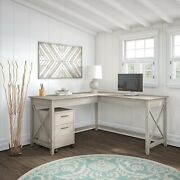 Bush Furniture Key West 60w L Shaped Desk With Mobile File Cabinet In Washed Gra