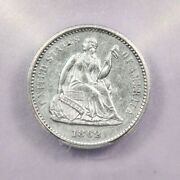 1862-p 1862 Seated Liberty Half Dime Icg Ms60 Details Scratched