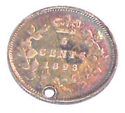 1893 Canadian Silver Five Cent / Silver Nickel Lot 28d See Photographs W/hole