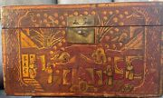 Antique Chinese Red And Gold Lacquer Wooden Box Hand-painted Qing Dynasty