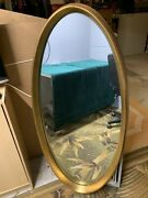 Vintage 4 Foot Tall Oval Wall Hanging Mirror Wood Frame With Gold Trim Elegant