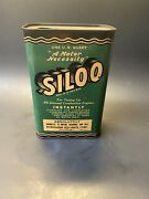 Vintage 1940s Siloo Combustion Engine Tune Up 1 Qt Advertising Empty Tin Can
