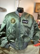 Vintage Military Collectors Flyers Pilot Jacket Od Green Lots Of Patches Men L