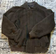 Men's Peruvian Connection Alpaca And Wool Brown Bomber Jacket Coat, Size Small