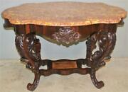 19558 Large Carved Victorian Marble Top Center Table