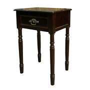 Cherry Finish Square End Table With Turned Legs And One Storage Drawer