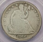 1866-s 1866 Seated Liberty Half Dollar With Motto Icg G6 Details
