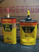 Lot Of 2 Vintage Outers 445 Gun Oil Handy Oiler 3and4 Oz Metal Oil Cans Empty