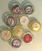 Rare 1900 Lot Of 9 Mixed Denomination Mother Of Pearl Poker Chips From Monaco