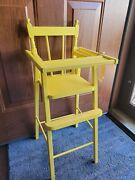 Vintage Wooden Doll Baby High Chair Yellow Painted Shabby Chic