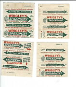 As-002 - Four Wrigley's Spearmint Chewing Gum Wrappers, All Different, Vintage