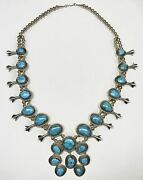 Navajo Turquoise Squash Blossom Necklace Sterling Silver Dinandeacute