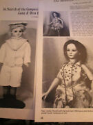 2 Piece C.o.d. Cuno Otto Dressel Doll History Article Lot Compo Head/beauty Face