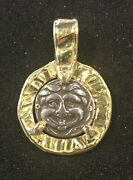Authentic Greek Coin Pendant / 350 Bc Gorgon And Bull / Set In 18k Yellow Gold /