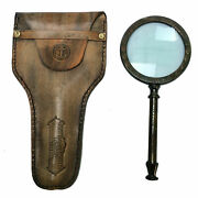 Antique Nautical Vintage Brass Hand Held Magnifying Glass With Leather Cover