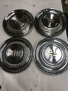 1958 Desoto Hubcaps Wheel Covers Factory Set Of 4 Vintage Caps Fireflite Ect.