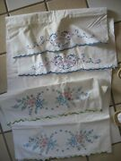 Lot Of 2 Sets Vintage Hand Embroidered/painted Pillowcases Cotton